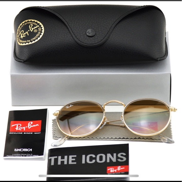 10c1787082418 New Authentic Ray-Ban RB3447 Round BrownGradien
